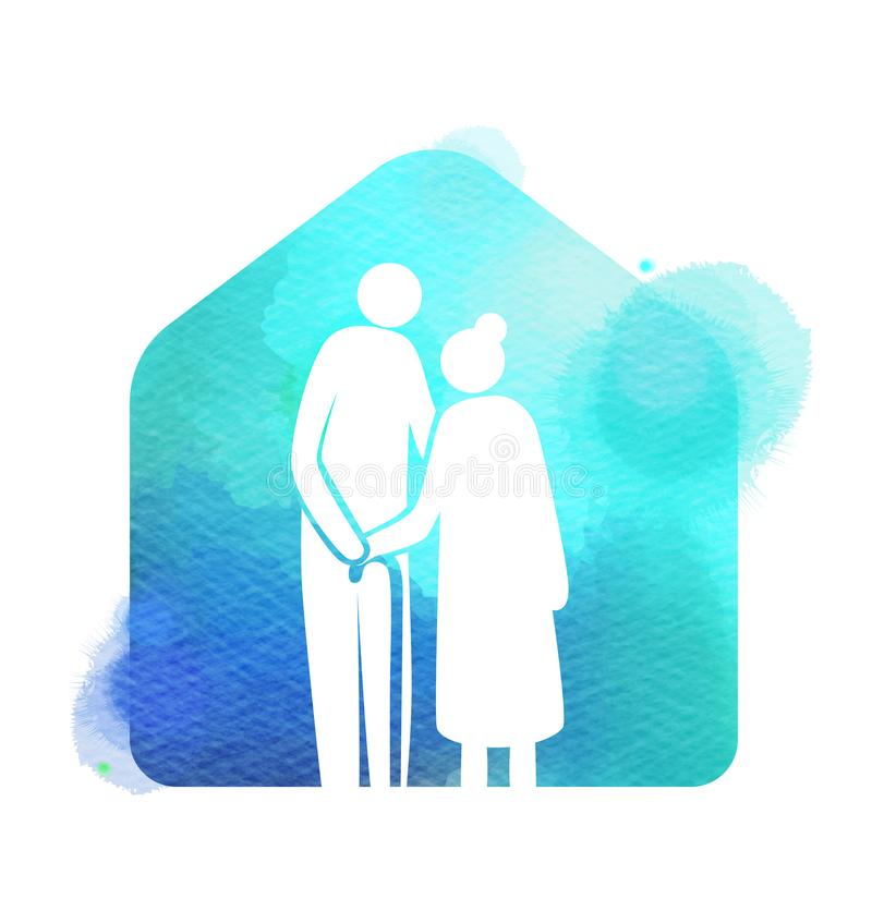 ?lteres Gesundheitswesenlogo Pflegeheim-Zeichenschattenbild auf Aquarellhintergrund Digital-Kunstmalerei lizenzfreie abbildung