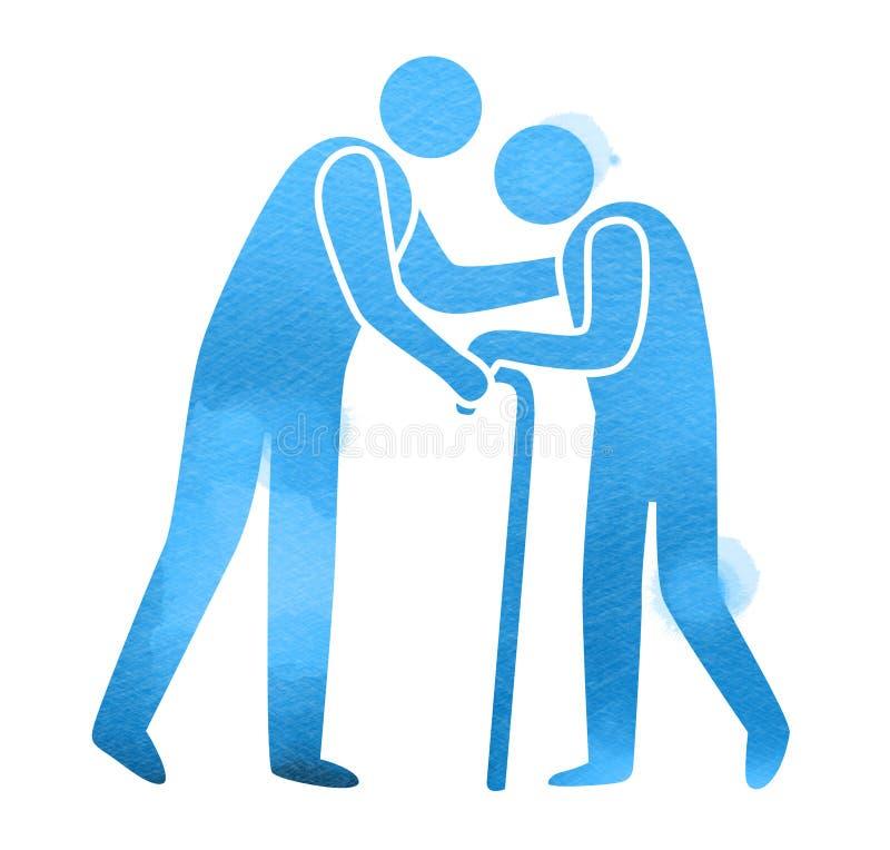 ?lteres Gesundheitswesenlogo Pflegeheim-Zeichenschattenbild auf Aquarellhintergrund Digital-Kunstmalerei stock abbildung