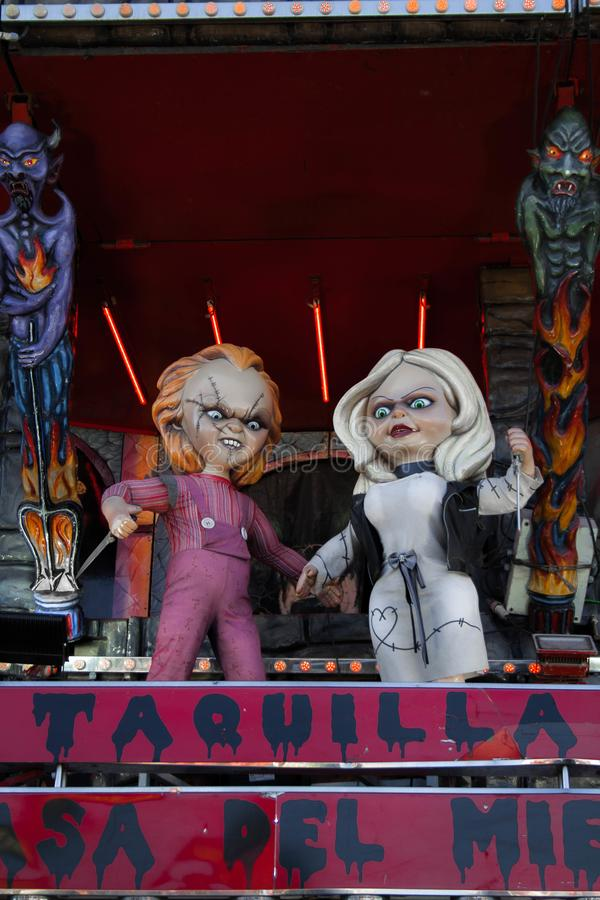 The chucky couple. At the April fair in Barcelona, Spain stock image