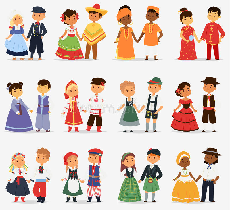 Lttle kids children couples character of world dress girls and boys in different traditional national costumes and cute. Nationality dress vector illustration vector illustration