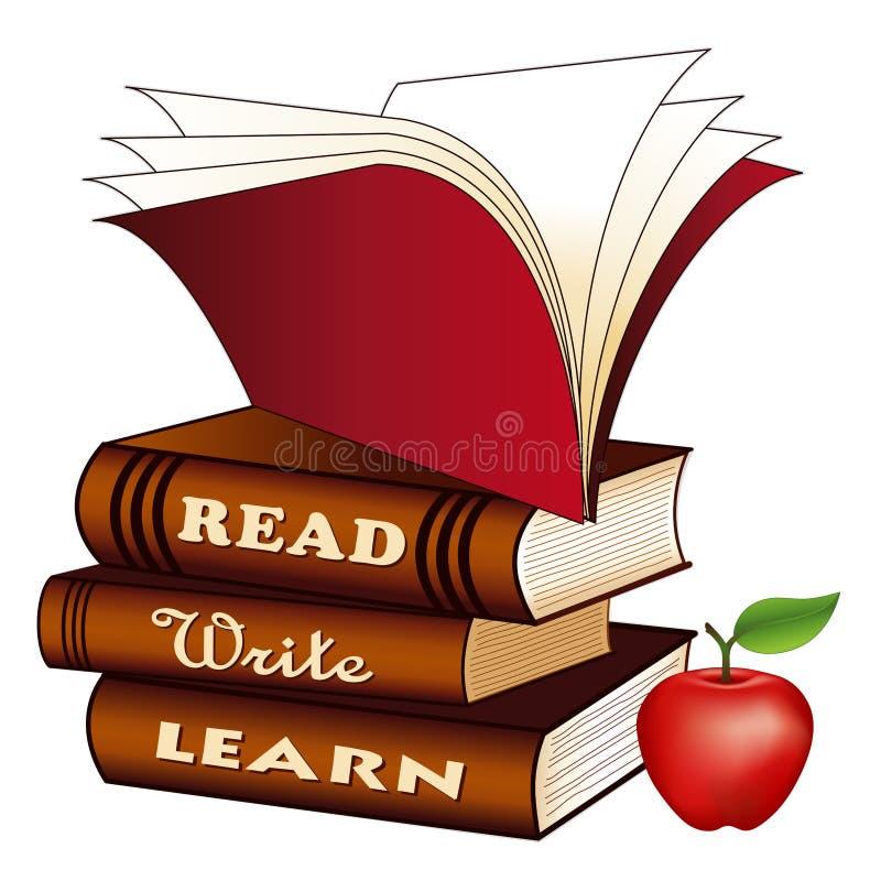 Lu, écrivez, apprenez, les livres, Apple pour le professeur, de nouveau à l'école illustration de vecteur
