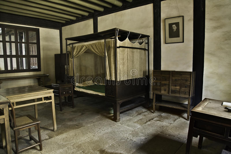 Lu Xun's Bedroom. The historical house and bedroom of Lu Xun, one of China's major and most influential modern Chinese literature writer stock images