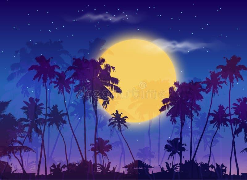 Lua amarela grande com as silhuetas escuras das palmas ilustração royalty free