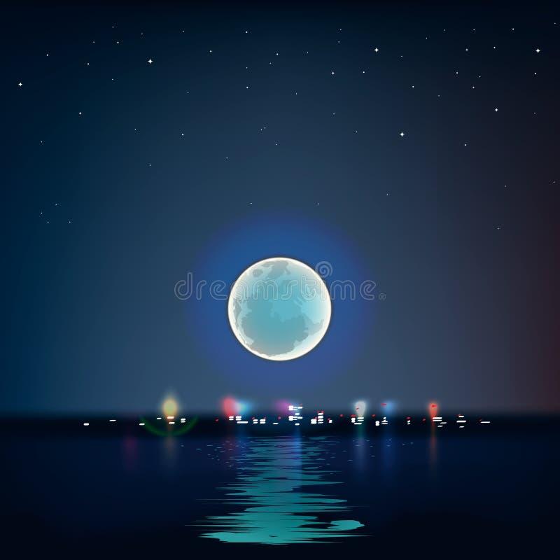 Lua azul completa sobre a água fria da noite ilustração stock