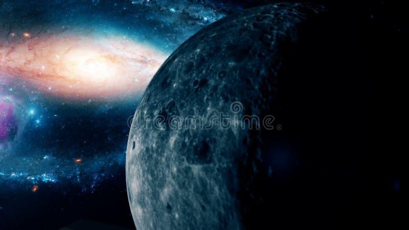 Lua bonita realística do espaço profundo ilustração royalty free