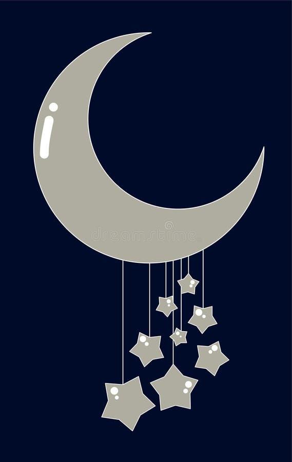 Lua bonito & estrelas. ilustração do vetor