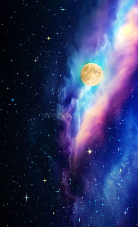 Lua cheia com as estrelas no céu noturno escuro ilustração stock