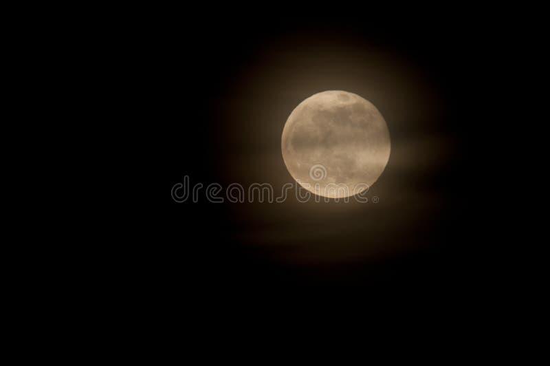 Lua cheia com as nuvens Wispy no fundo do céu noturno imagens de stock