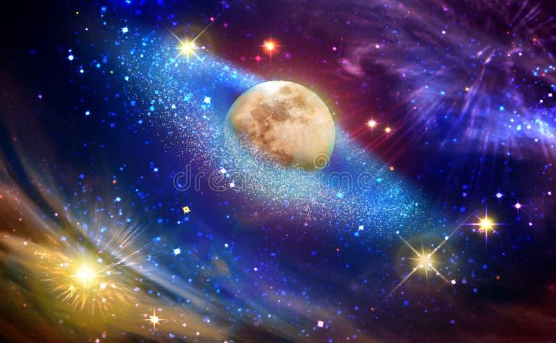 Lua cheia com a estrela no céu noturno escuro ilustração do vetor