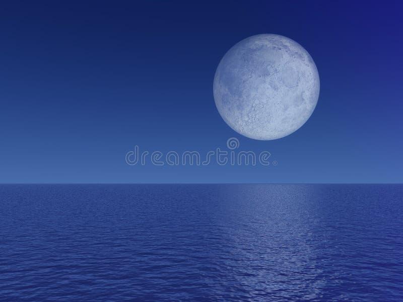 Lua cheia da noite sobre o mar ilustração royalty free
