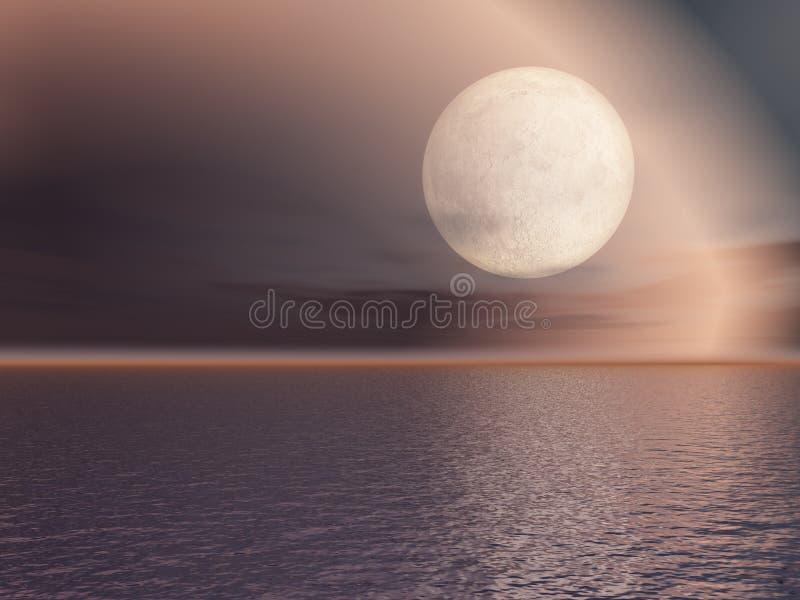 Lua cheia da noite sobre o mar ilustração stock