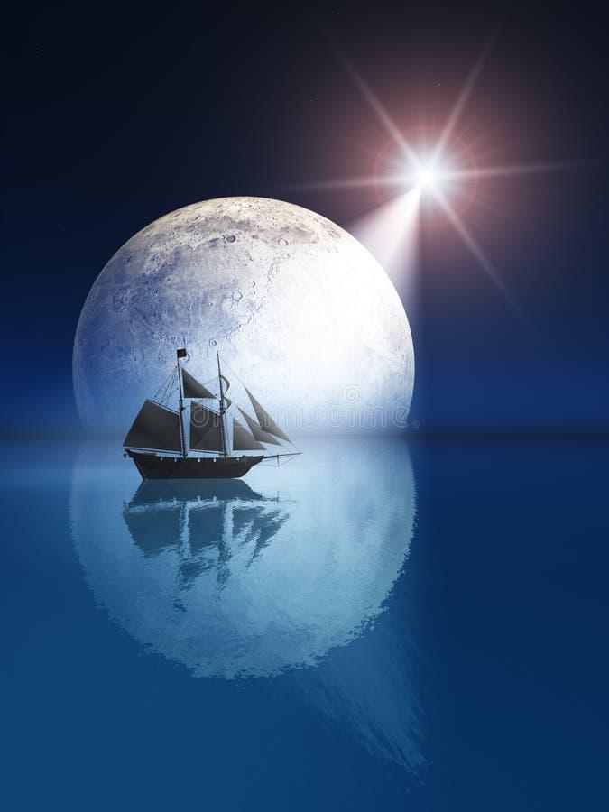 Lua cheia e estrela sobre o navio ilustração royalty free
