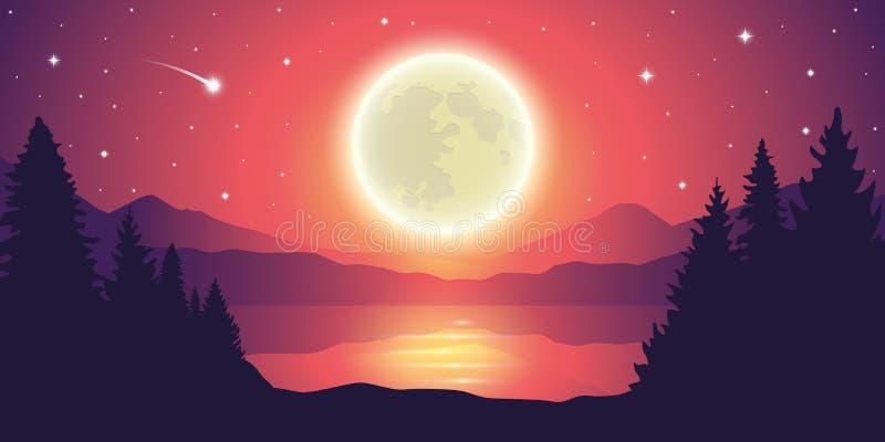 Lua cheia e estrelas de queda românticas pela paisagem do lago ilustração do vetor