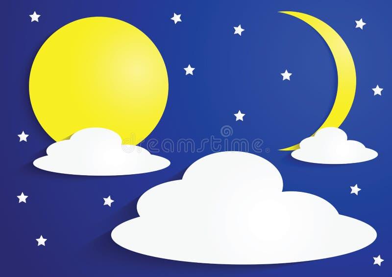 A Lua cheia e o crescente de papel moon com nuvens e estrelas ilustração do vetor
