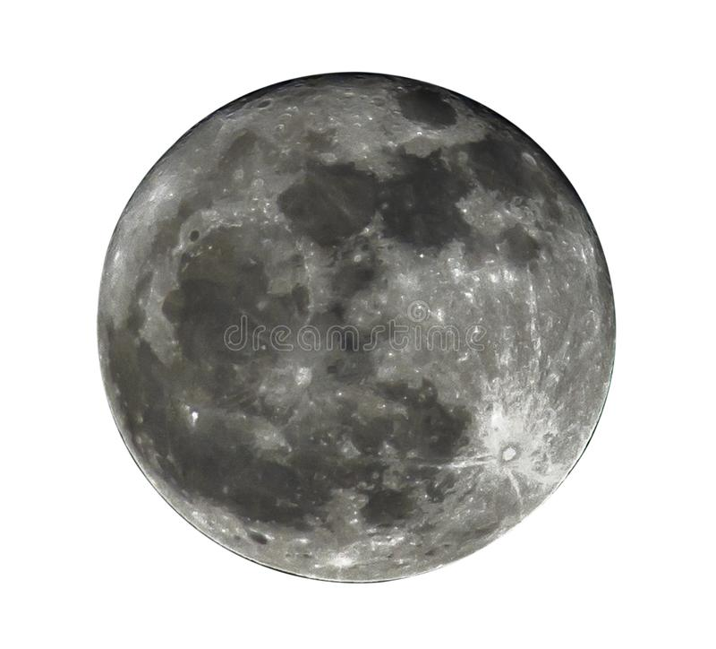 Lua cheia isolada no fundo branco, trajetos de grampeamento fotografia de stock royalty free