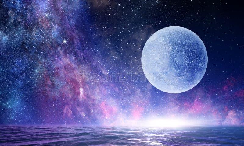 Lua cheia no céu estrelado da noite fotos de stock royalty free