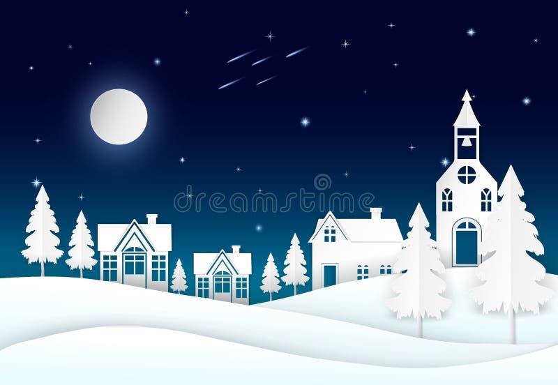 Lua cheia no céu noturno com estrela, cometa e vila estilo de papel da arte ilustração do vetor