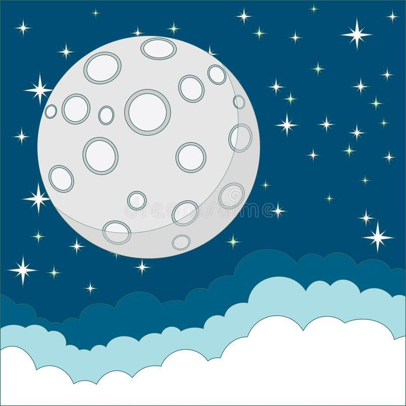 Lua cheia no fundo do céu noturno, vetor ilustração stock