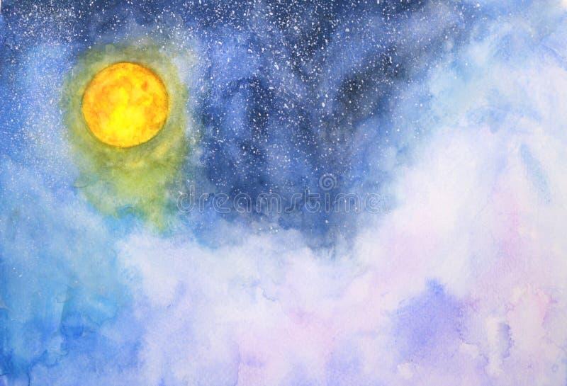 Lua cheia, nuvens e estrelas da galáxia da aquarela ilustração royalty free