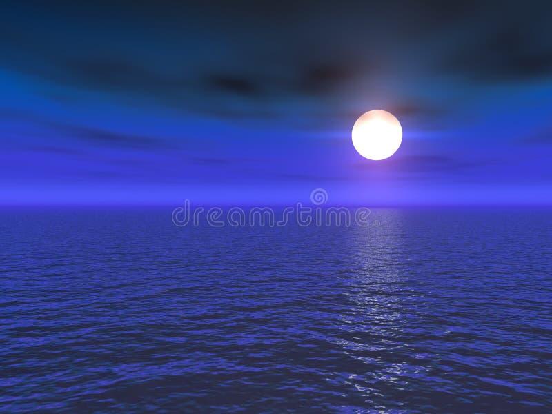 Lua cheia sobre o mar ilustração do vetor