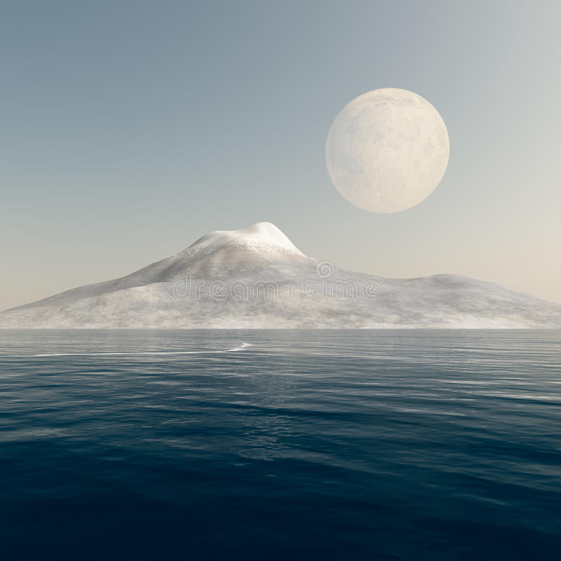 Lua cheia sobre o mar da montanha ilustração do vetor