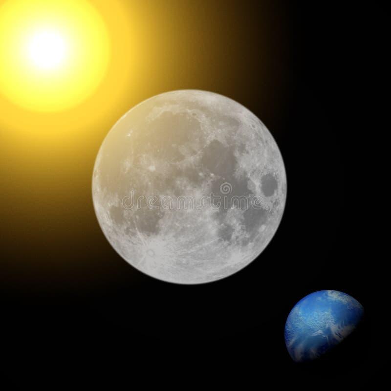 Lua cheia, terra do planeta e sol ilustração royalty free