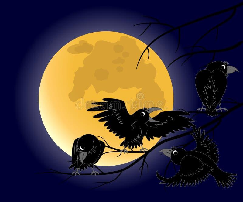 Lua cheia, um corvo que senta no ramos pretos inoperantes ilustração do vetor