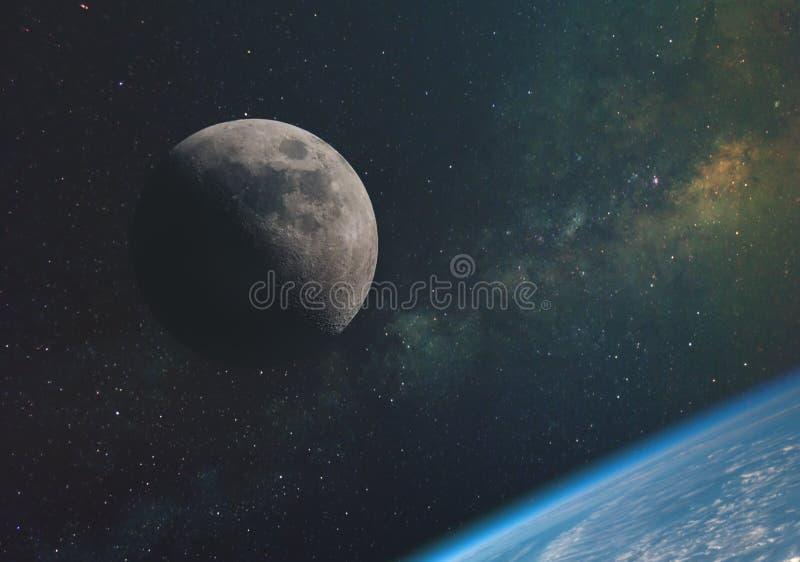 a lua contra a Via Látea e os raios do sol no espaço infinito do universo na órbita da terra Elementos do th ilustração do vetor