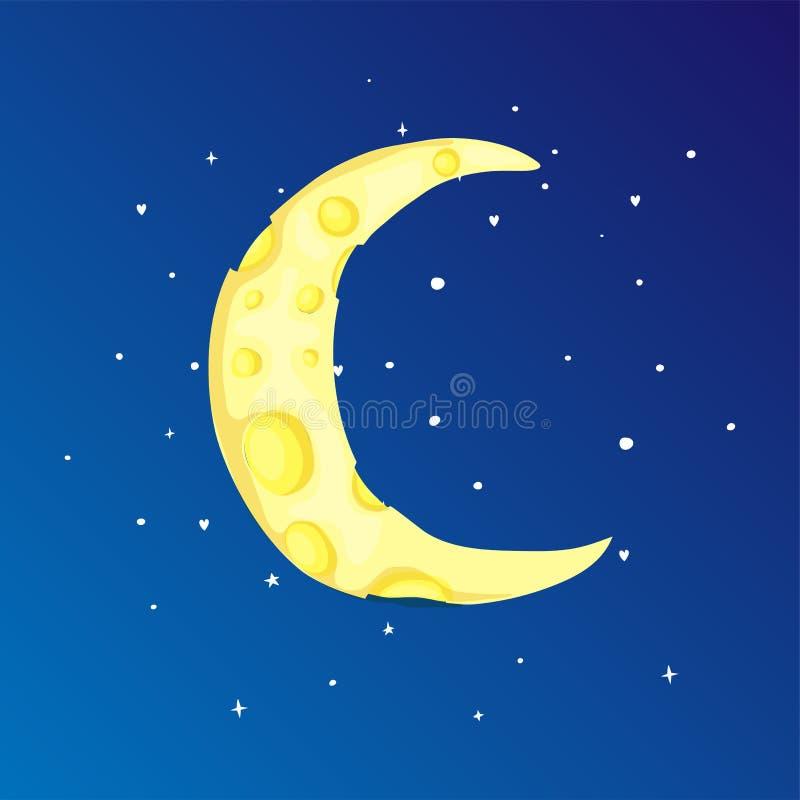 Lua crescente amarela dos desenhos animados do divertimento entre o ícone das estrelas Lua crescente mágica amarela com a decoraç ilustração royalty free