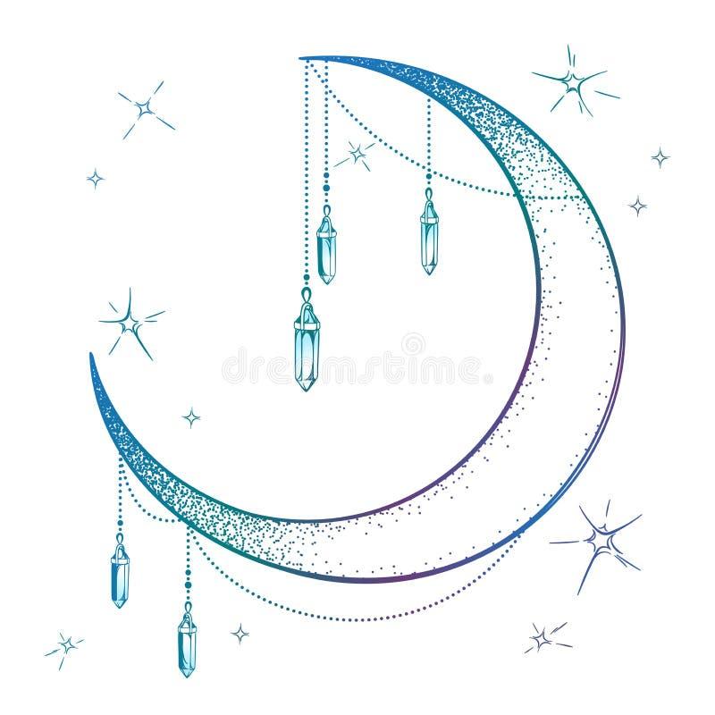 A lua crescente azul com os pendentes da gema da pedra lunar e as estrelas vector a ilustração Projeto tirado mão do cartaz da có ilustração royalty free