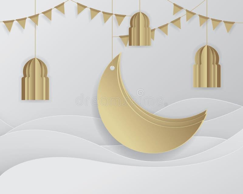 Lua crescente de Ramadan Background Islamic ilustração stock