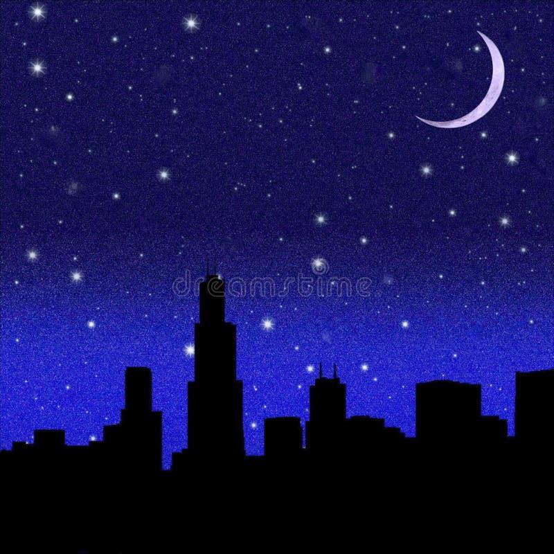 Lua crescente e céu estrelado preto sobre a cidade ilustração stock