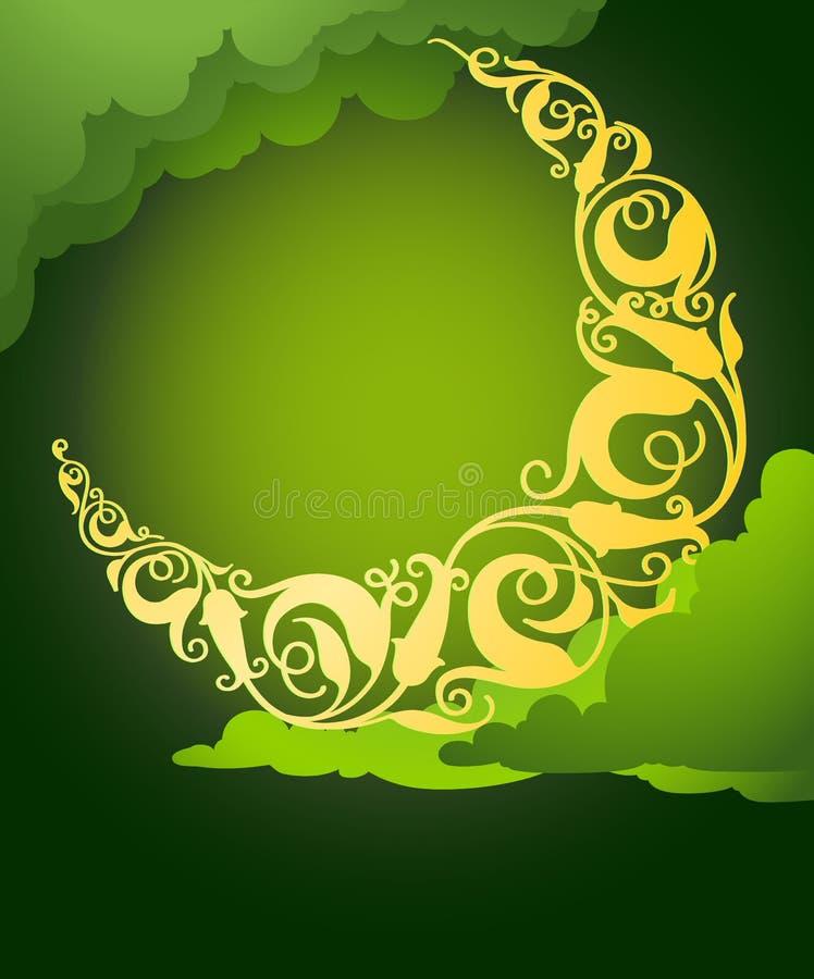 Lua crescente floral islâmica ilustração royalty free