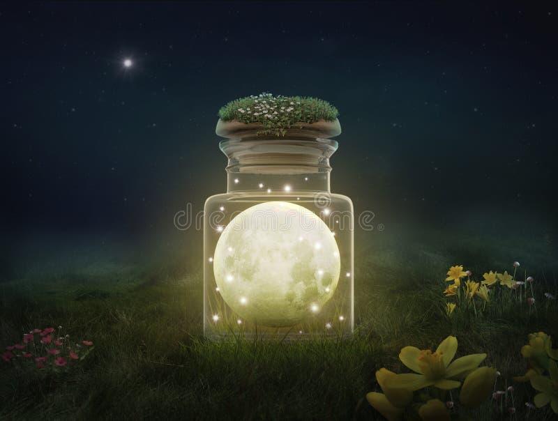 Lua da fantasia dentro de uma garrafa na noite ilustração do vetor