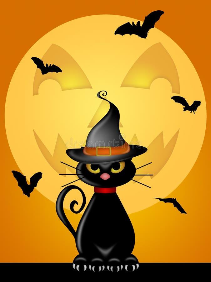 Lua da lanterna de Jack O do chapéu das bruxas do gato de Halloween ilustração royalty free