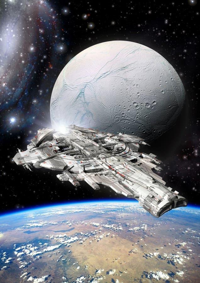 Lua da nave espacial e do estrangeiro ilustração royalty free
