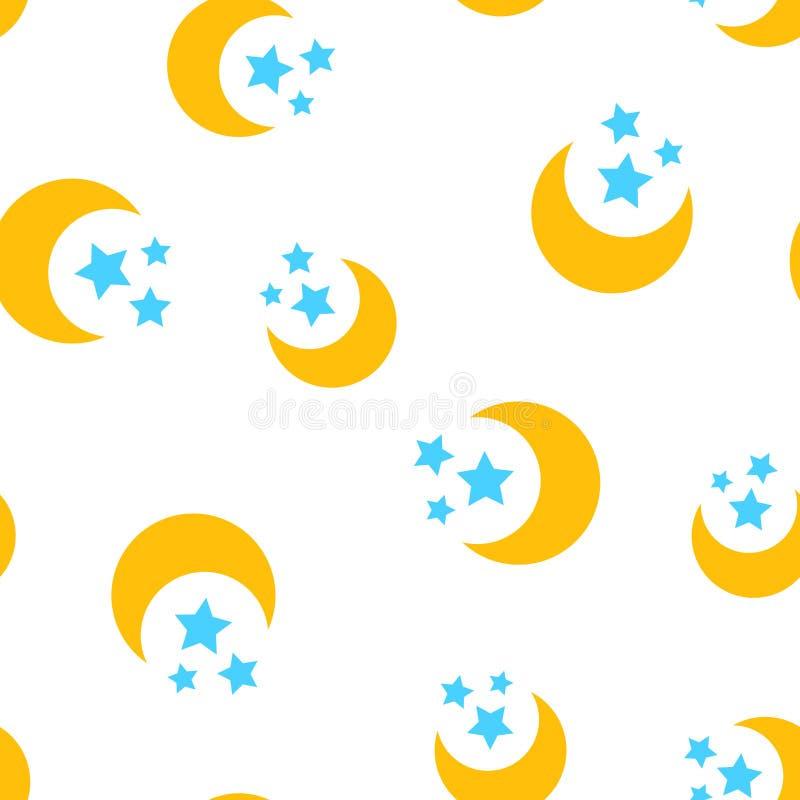 Lua da noite e fundo sem emenda do teste padrão do ícone das estrelas Busin ilustração stock