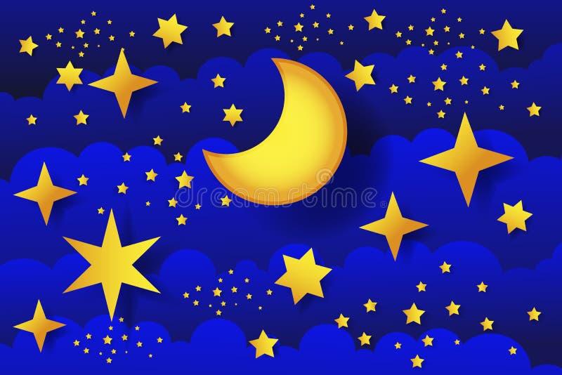 Lua da noite estrelado na ilustração do vetor das nuvens ilustração royalty free