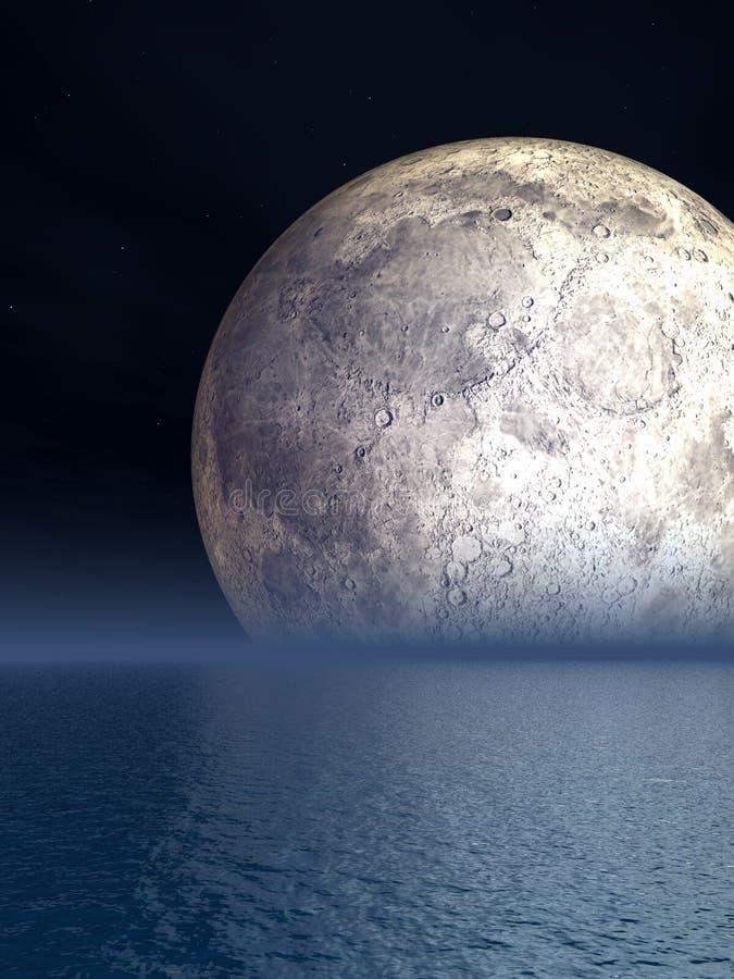 Lua da noite sobre o mar - ilustração ilustração royalty free