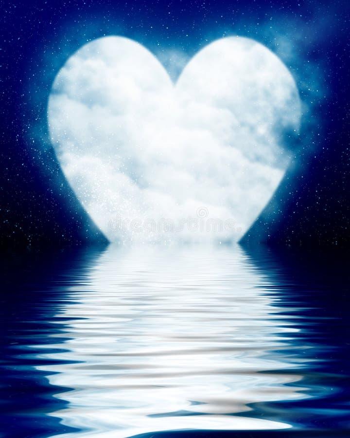 Lua dada forma coração refletida no oceano ilustração stock