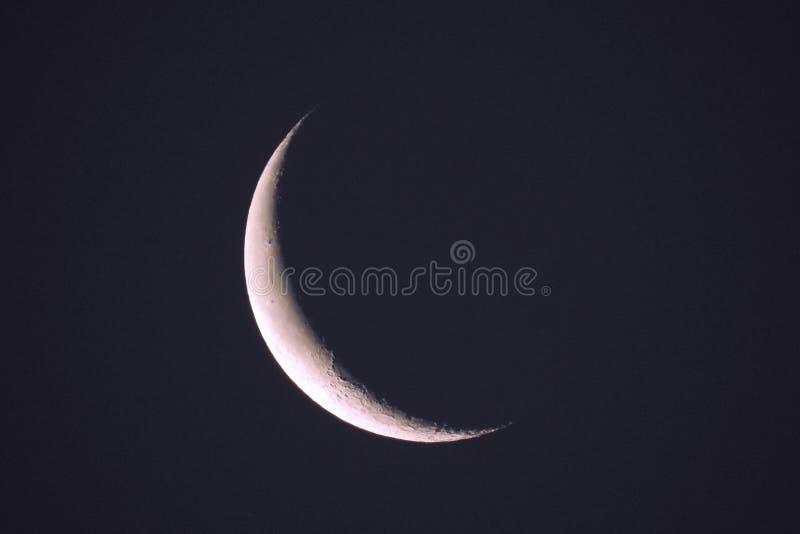 Lua 2 de janeiro de 2018 tomado Crescent Waning Real Photograph fotografia de stock