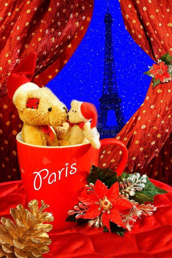 Lua de mel do Xmas em Paris fotografia de stock royalty free