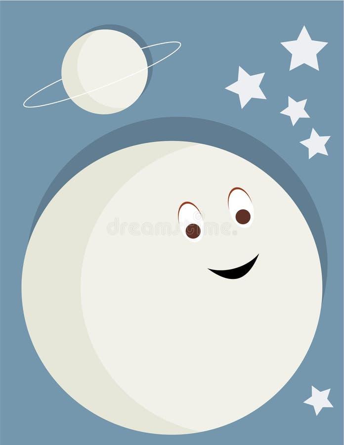 Lua de sorriso ilustração do vetor