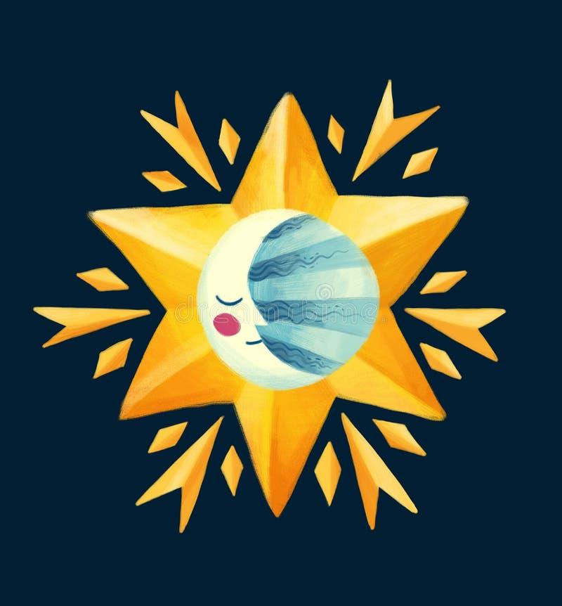 Lua de sorriso no desenho dourado da estrela do Natal no estilo das crianças imagens de stock royalty free