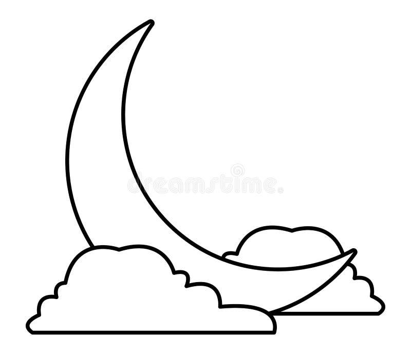 Lua de um quarto com desenhos animados das nuvens em preto e branco ilustração do vetor