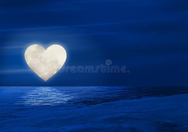 Lua do coração sobre a água ilustração royalty free