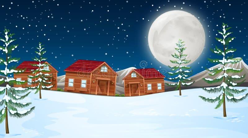 Lua do inverno com cabines ilustração royalty free