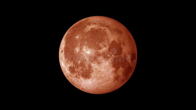 Lua do sangue no fundo do espaço único ilustração do vetor
