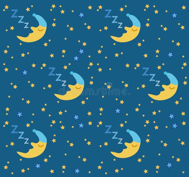 Lua do sono & fundo das estrelas ilustração royalty free