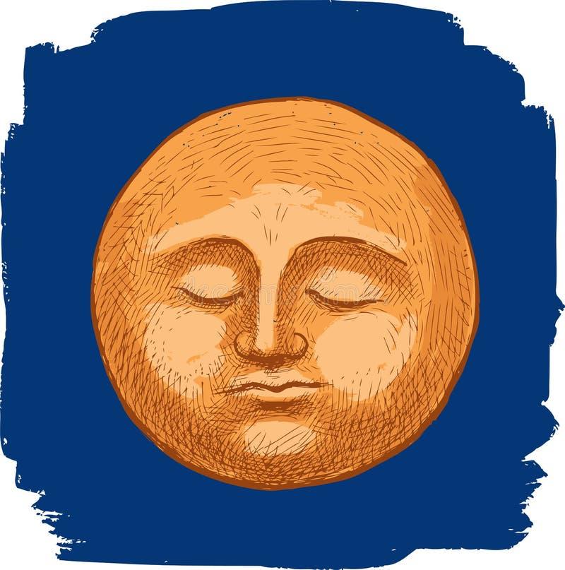 A lua do sono no céu noturno ilustração stock